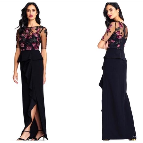 dd7272565c Adrianna Papell short sleeve ruffled peplum gown